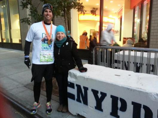 At the finish of the NYC Marathon with Chase's mother!